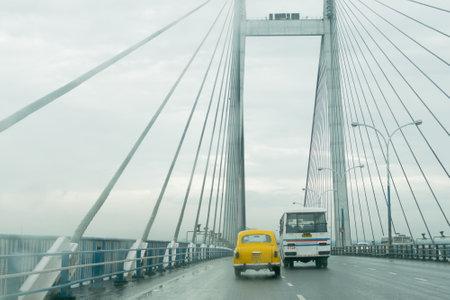 HOWRAH, WEST BENGAL , INDIA - AUGUST 7TH 2016 : Vidyasagar Setu (Bridge) over river Ganges, 2nd Hooghly Bridge. Connects Howrah and Kolkata, Longest Cable - stayed bridge in India.