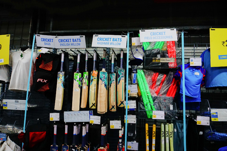 ULUBERIA, HOWRAH, WEST BENGAL  INDIA - 18TH MARCH 2018 : Cricket related sports goods on display at Dechathlon S.A. - worlds largest sporting goods retailer. Editorial stock image.