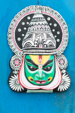 Colorful Chhau (or chhou) mask , handicrafts on display for sale - at Charida, Purulia - Bangla (formerly West Bengal), India. Chhau or Chhou is traditional tribal dance festival of India. Stock Photo