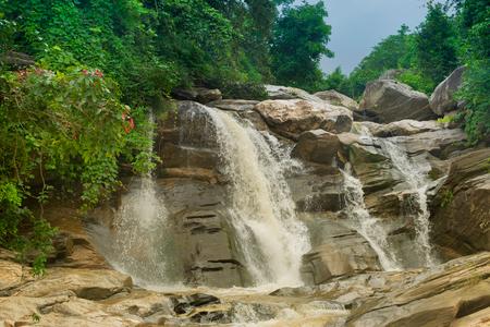 Beautiful Turga waterfall having full streams of water flowing downhill amongst stones , duriing monsoon due to rain at Ayodhya pahar (hill) - at Purulia, West Bengal, India. Stock fotó
