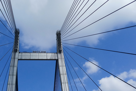 Cables of Vidyasagar Setu (Bridge) over river Ganges, with blue sky - known as 2nd Hooghly Bridge in Kolkata,West Bengal,India. Connects Howrah and Kolkata, Longest Cable - stayed bridge in India.
