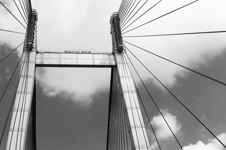 Cables of Vidyasagar Setu (Bridge) over river Ganges- known as 2nd Hooghly Bridge in Kolkata,West Bengal,India. Connects Howrah and Kolkata, Longest Cable - stayed bridge in India. B&W image. Stock Photo