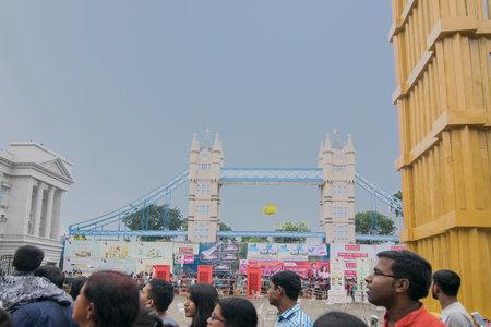 KOLKATA , INDIA - SEPTEMBER 29, 2017 : Decorated Durga Puja pandal - replica of London bridge of England , at Kolkata, West Bengal, India. Durga Puja is biggest religious festival of Hinduism. Editorial
