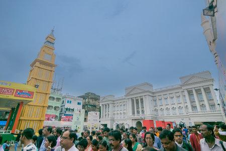 KOLKATA , INDIA - SEPTEMBER 29, 2017 : Decorated Durga Puja pandal - replica of White House of USA , at Kolkata, West Bengal, India. Durga Puja is biggest religious festival of Hinduism.