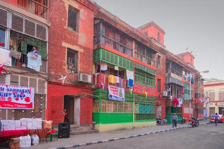 KOLKATA, WEST BENGAL, INDIA - DECEMBER 24TH 2017 : Bow barracks - walls made of red coloured bricks - north kolkata british colony. Image shot in daytime at Kolkata, West Bengal, India