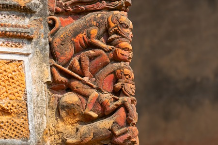 Terracotta art works on the temple walls of Lalji temple of Kalna, West Bengal, India - It is one of oldest temples of lord Krishna (a Hindu God). It is a famous artwork made of burnt bricks.