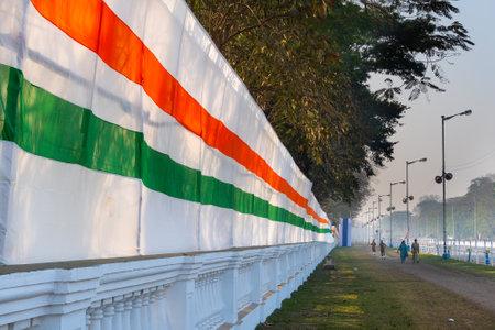Tricolour decoration beside Red Road, Kolkata (Calcutta), West Bengal - India.