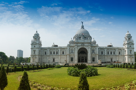 Beautiful panoramic image of Victoria Memorial, Kolkata , Calcutta, West Bengal, India . A Historical Monument of Indian Architecture. Built to commemorate Queen Victoria's 25 years reign in India.