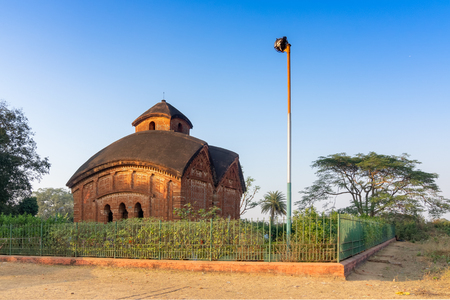 Famous terracotta (fired clay of a brownish-red colour, used as ornamental building material) artworks at Jor Bangla Temple, Bishnupur, West Bengal, India. It is popular UNESCO heritage site of India.