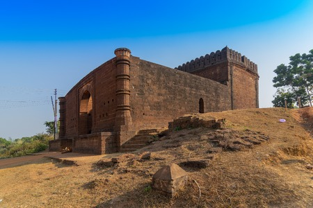 Large gateway - a fine arched gateway , popularly known as Pathar darwaja, is made with dressed laterite blocks. It is a famous tourist spot in Bishnupur, West Bengal - India.