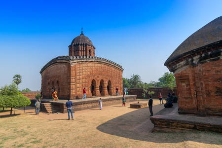 BISHNUPUR, WEST BENGAL  INDIA - DECEMBER 26, 2015 : Famous terracotta (fired clay of a brownish-red colour, used as ornamental building material) artworks at Madanmohan Temple, UNESCO heritage site.