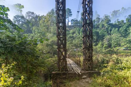 View of Jhalong bridge over river Joldhaka, Dooars, West Bengal - India