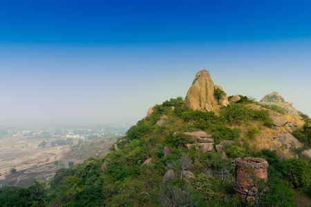 Joychandi Pahar - mountain - is a hill which is a popular tourist attraction in the Indian state of West Bengal in Purulia district. Image of the top of the hill in daytime.
