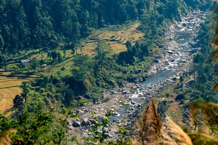 Top view of Joldhaka river flowinf beneath at India Bhutan border with agricultural lands on the side . Image shot at Jhalong, North Bengal - Dooars West Bengal , India