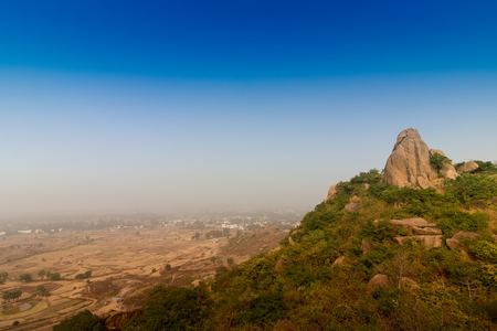 Joychandi Pahar - mountain - is a hill which is a popular tourist attraction in the Indian state of West Bengal in Purulia district. Image of the top of the hill in morning.