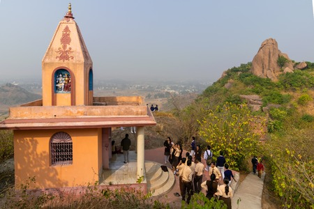 JOYCHANDI, PURULIA, INDIA - DECEMBER 23 2015 : Goddess Joychandi temple at the top of Jaychandi hill, popular tourist attraction. Locals call it - Joychnadi matar mandir.