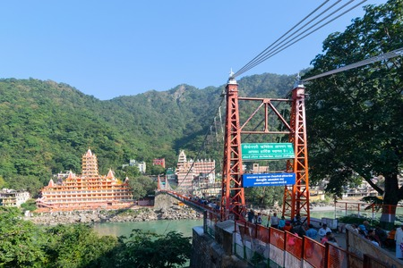 Lakshman Jhula is a suspension bridge across the river Ganges, Rishikesh in the Indian state of Uttarakhand. The bridge connects the two villages of Tapovan of Garhwal district.