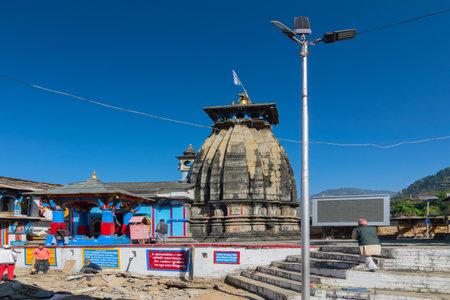UKHIMATH, RUDRAPRAYAG, UTTARAKHAND, INDIA - OCTOBER 31 2018 : Ukhimath, sacred hindu temple. Winter puja of Lord Kedarnath and year-round puja of Lord Omkareshwar is performed here.