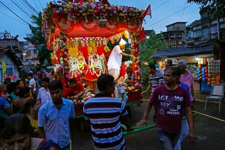 HOWRAH, WEST BENGAL , INDIA - JULY 22TH 2018 : Decoated Rath, chariot, of God Jagannath, Balaram and Goddess Suvadra on the street. Famous Rath jatra festival.
