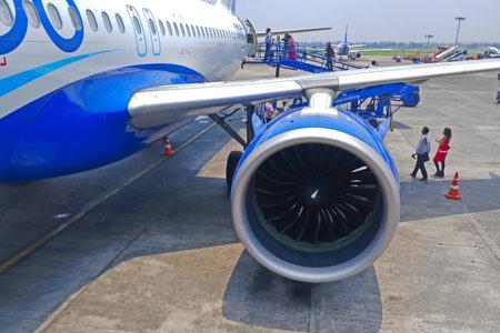Kolkata, West Bengal, India - May 14 2019 : Passengers are boarding flight at Kolkata International airport.
