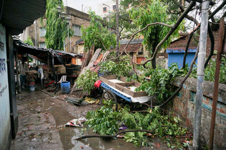 Howrah, West Bengal, India - 21st May 2020 : Remains of a devastated shop, destroyed by Super cyclone Amphan. Few structures could survive the storm.