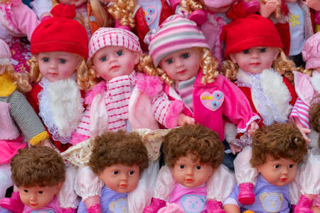 Beautiful cute baby dolls for sale at retail shop at Christmas market, New Market area, Kolkata, West Bengal, India. Editorial