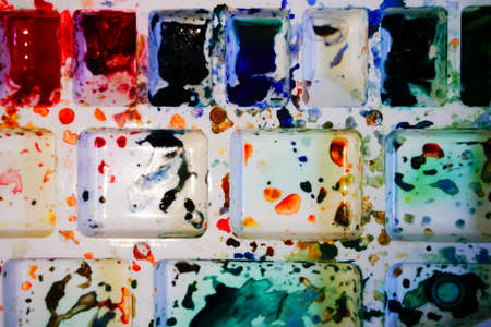 Top view of watercolour palette. Vibrant colours used on the palette. Shot at Howrah, West Bengal, India.
