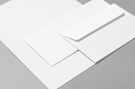 Basic blank stationery: paper, envelopes Stock Photo