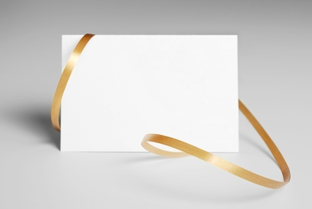 Thank you card with golden ribbon