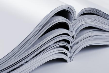 Pile of open blank magazines Stock Photo - 22527285