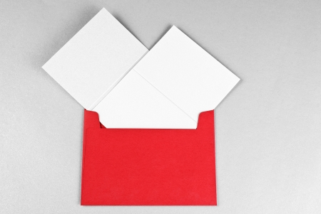 silvester: Two greeting cards in red envelope,  Christmas and Silvester  Stock Photo
