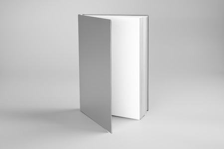Blank open standing book over gray wall