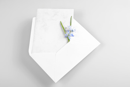 Blank greeting card in envelope with spring flowers photo