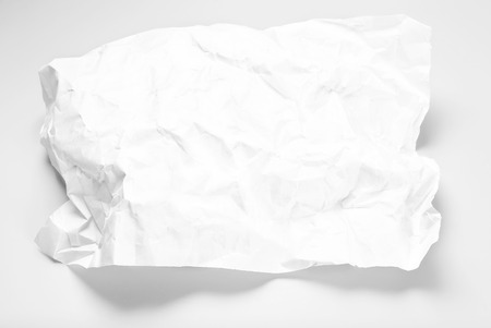 Blank crumpled sheet of paper