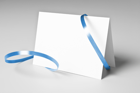 greeting card: Blank thank you or greeting card with blue ribbon Stock Photo