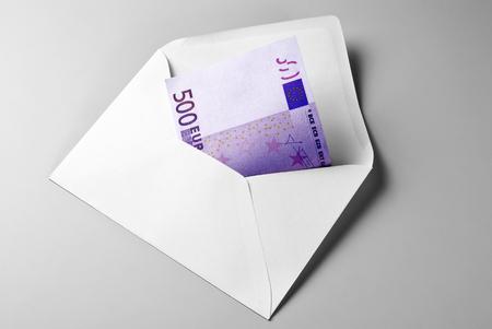 Five Hundred Euro Bill in Envelope Stock Photo