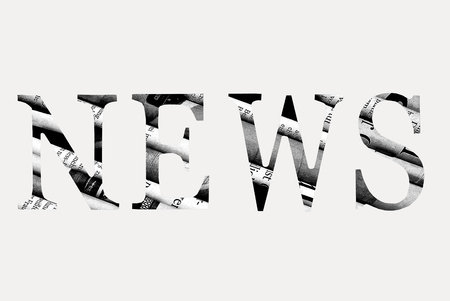 News written with letters cut from newspaper Stock Photo