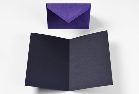 Blank black open card and envelope