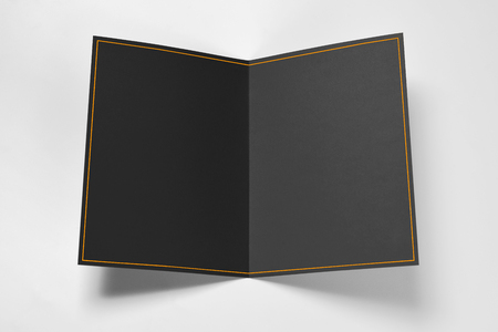 Blank black card with yellow frame