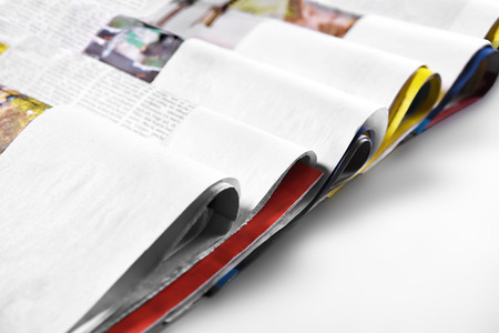 Folded newspapers. Selective focus. Copy space Stock Photo