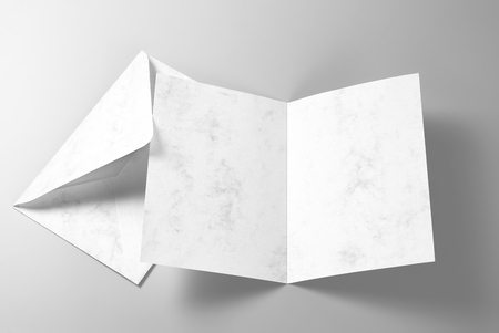 Blank greeting card and envelope Stock Photo