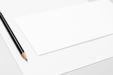 Blank stationery: paper, envelope and pencil Stock Photo