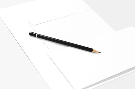 Blank stationery: paper, envelopes, and pencil