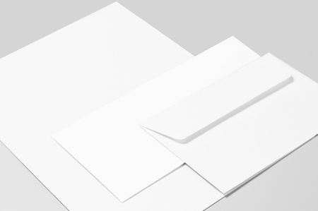 Blank stationery: sheet of paper and two envelopes
