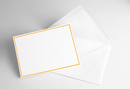 Blank card decorated with yellow frame and envelope