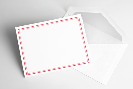 Blank greeting or thank you card with red frame and envelope