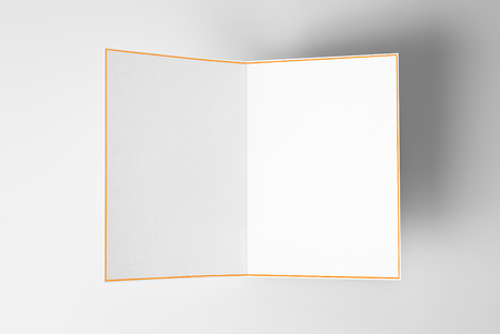 Blank open card with yellow frame over grey background