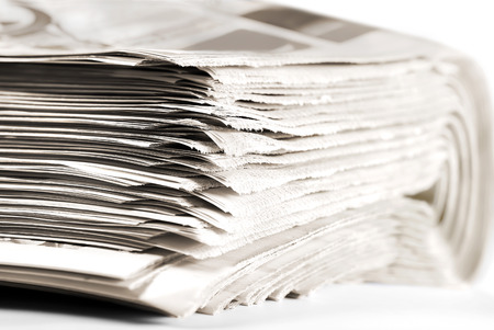 Heap of Old Folded Newspapers, Selective Focus