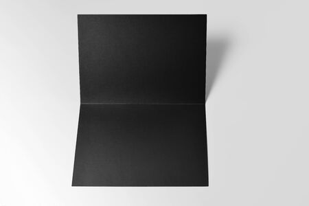 Blank Black Open Card over Grey Background
