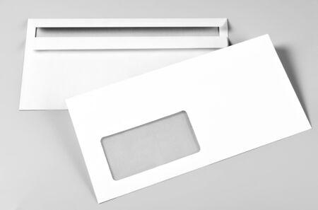 Two Blank Envelopes over Grey Background Standard-Bild